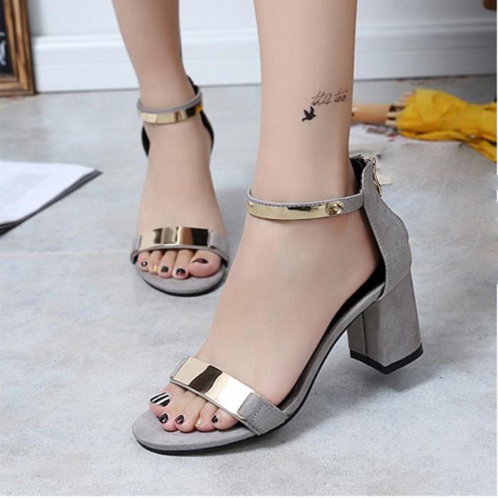 Gladiateur D'été Talon Chaussures Sandales Sandles Bout Femmes gris Épais Ouvert Chaussures ngxYdH8Hqw