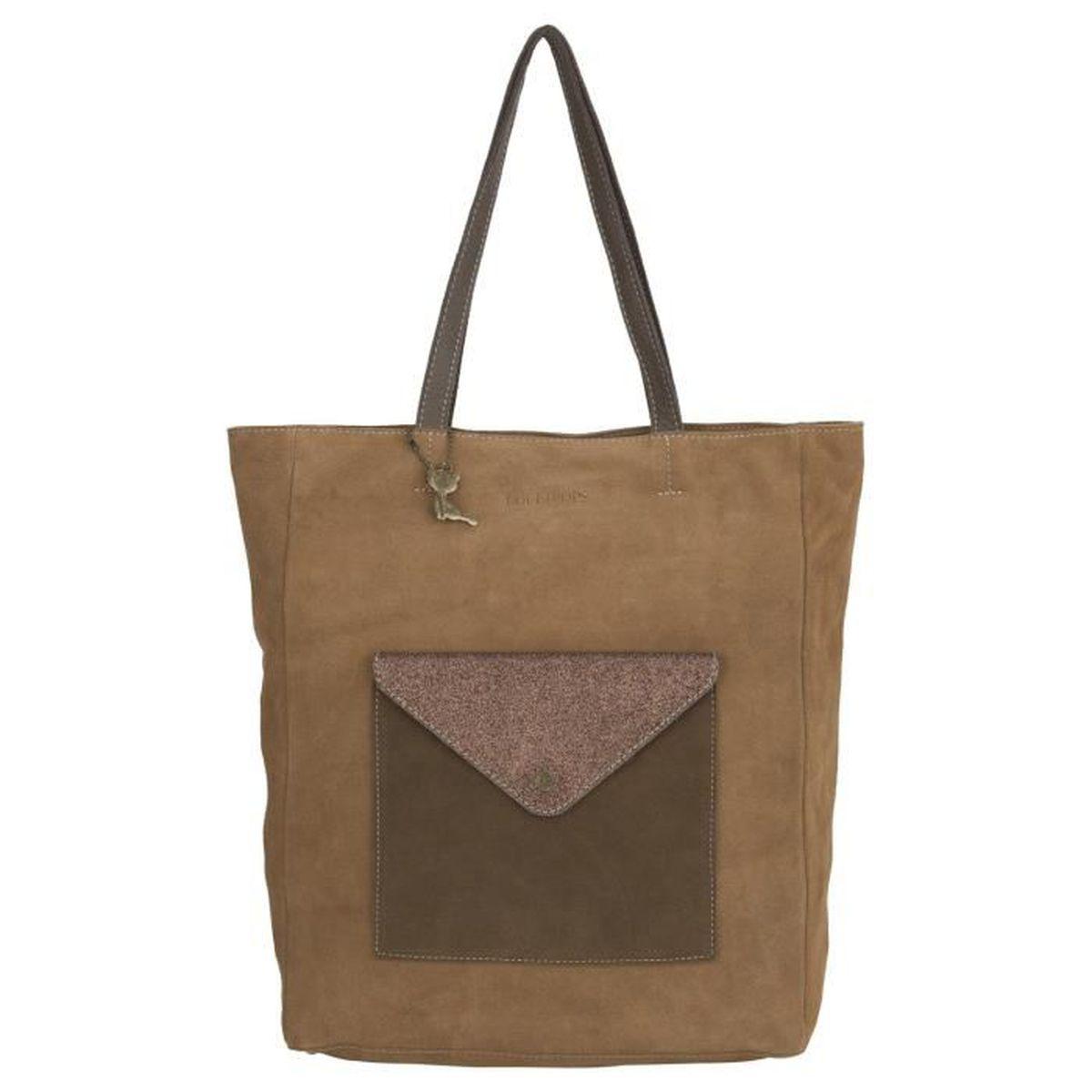plus récent 4d28d 8d8e0 Grand sac cabas cuir bicolore marron Lollipops - Achat ...
