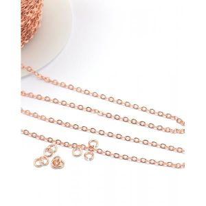 fb076cdae0a 1 mètre de chaine à mailles forcat or rose - 3x2.5x0.5mm - apprêts création  de bijoux