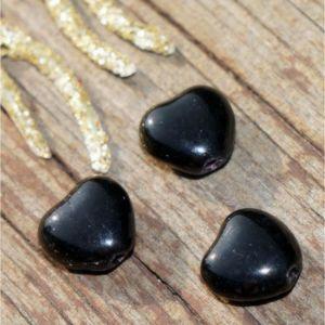 Perles Opaque en Verre Noir Coeur de Perle de Cœur net Pe