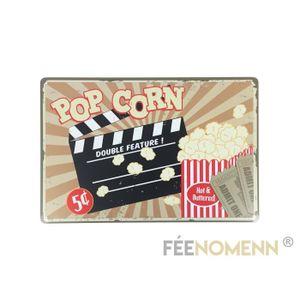 OBJET DÉCORATION MURALE Plaque Métal Déco Vintage - Pop Corn (20x30cm)