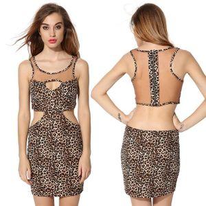 ROBE Mini robe sexy sans manches dos nu léopard femme 5e468d35e410