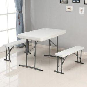 TABLE À MANGER COMPLÈTE Pliable Table + 2 Tabourets kit de Table à manger