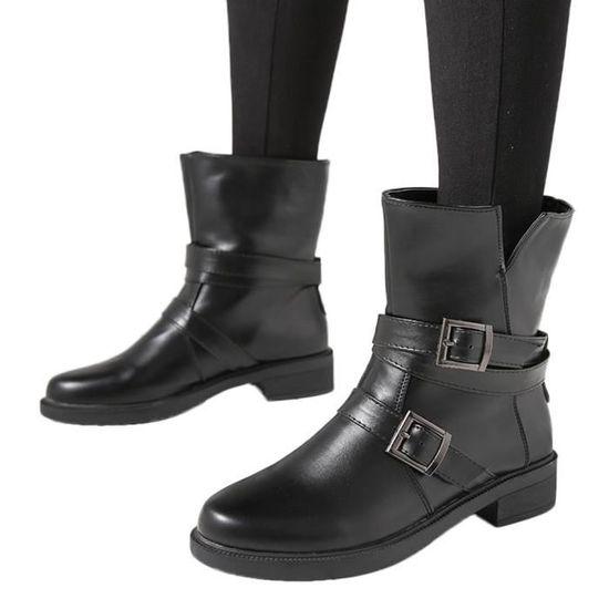 Bottines Libaib Femmes Cuir noir En Bracelet Court Plat Chaussures Bottes Bottillons Boucle Martin PPrw0qd