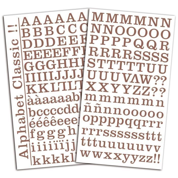 TOGA Set de 2 planches de stickers alphabet - marron