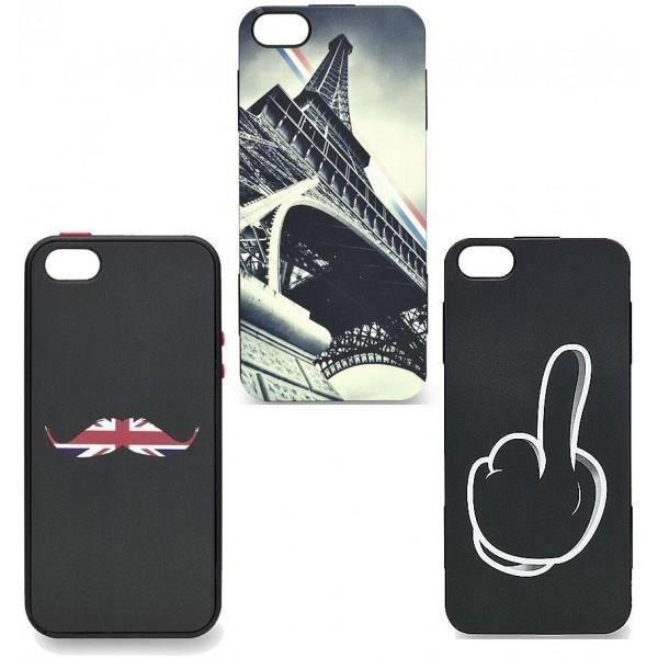 WE Coque de protection pour IPhone 5 et 5S - 3 dos différents Tour Eiffel / Moustache et doigt