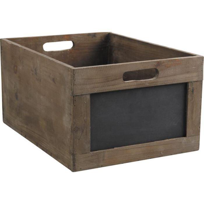 caisse de rangement en bois avec ardoise 35x23x achat vente boite de rangement bois cdiscount. Black Bedroom Furniture Sets. Home Design Ideas