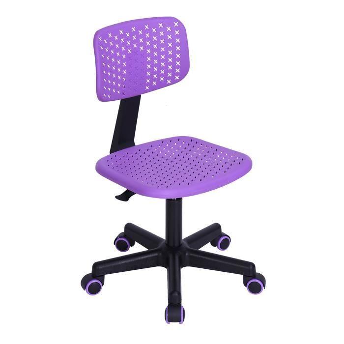 VLV Chaise de Bureau pour Enfant Plastique Violette Ajustable