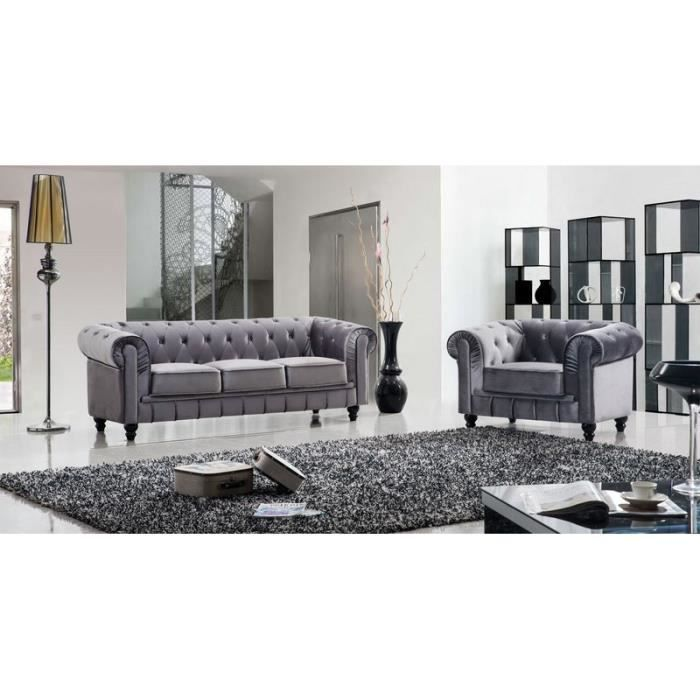 Ensemble canap 3 places 1 fauteuil chesterfield achat for Canape 3 places 1 fauteuil
