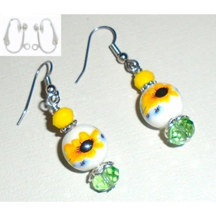 Femmes de tournesol Fleur en céramique verte et jaune cristal perles de verre boucles doreilles (clip-ons) XBPJA