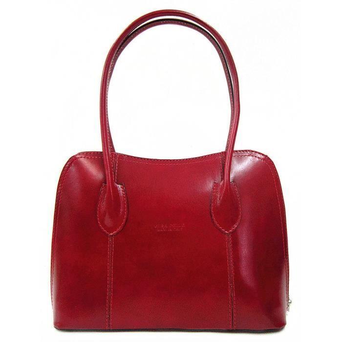 Sac ou épaule Sac italien classique en cuir lisse brillant style fourre-tout Grab PK43F