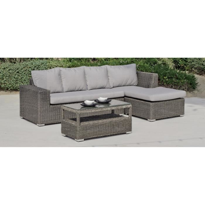 Canapé jardin et table basse gris Toscana - Achat / Vente salon de ...