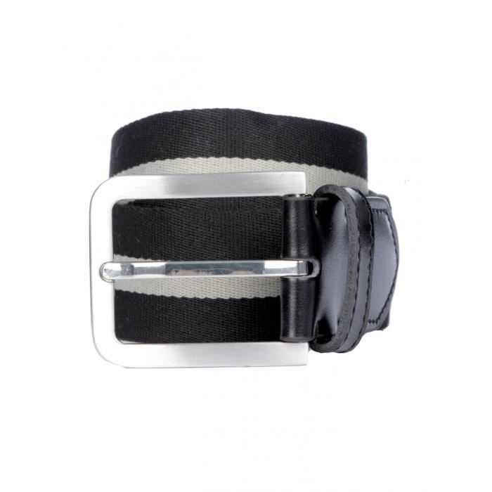 95a96d68542d BRUCE FIELD - Ceinture en toile bicolore Noir   gris - Achat   Vente ...