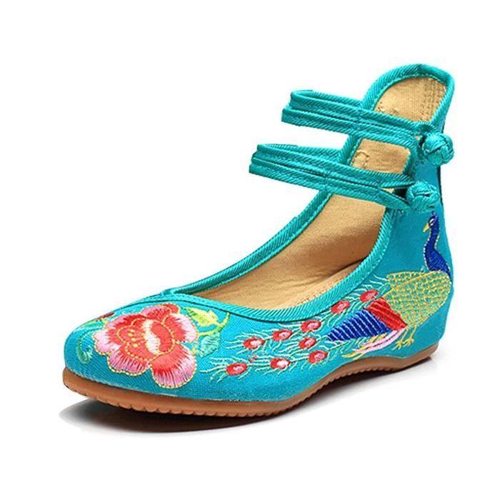 Minetom Femme Vintage Broderie Fleur Mary Jane Talon Compensé Chaussures de Conduite Loafer Ballerines Mocassins Pumps