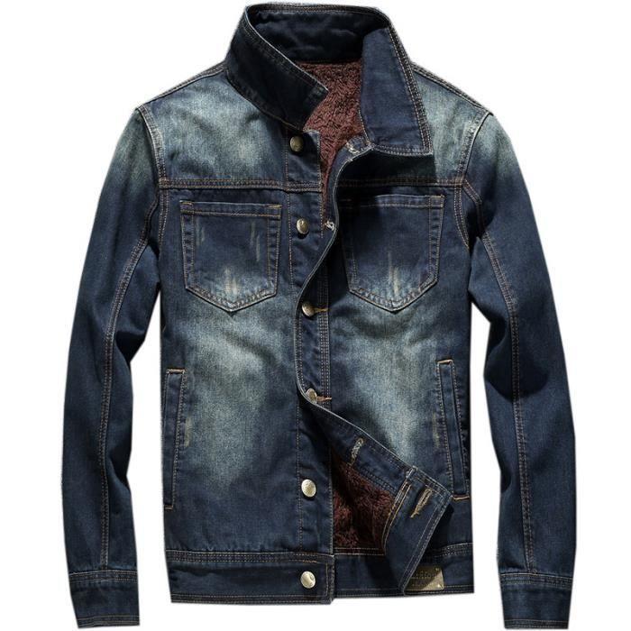 Veste en Jeans Homme Molleton Casual Classique Blouson Automne-Hiver ... 2153d85d7120