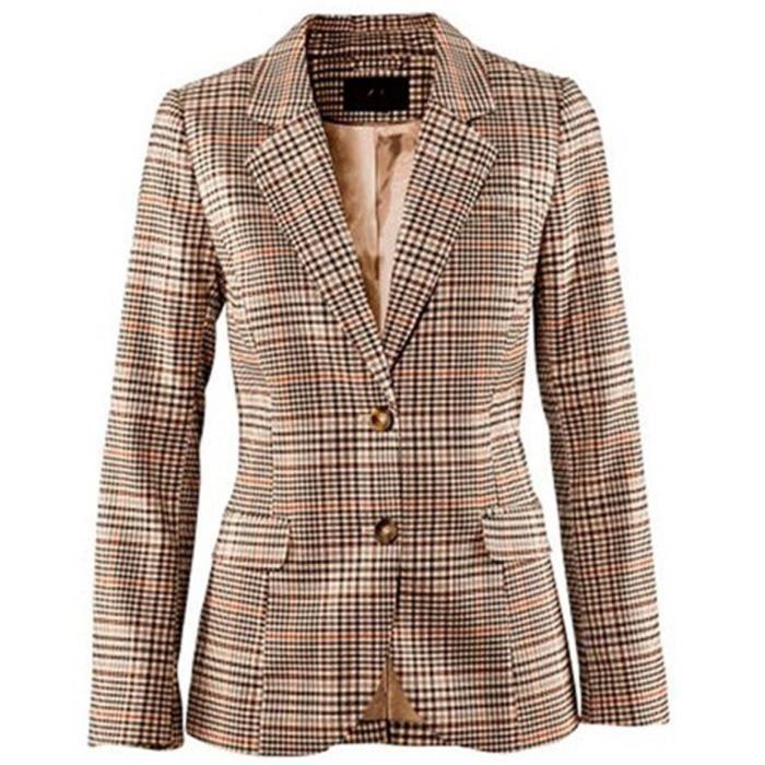 eaeb9c6667a3d Veste court femme blazer carreaux Kaki - Achat   Vente veste ...