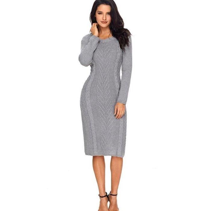3e9496e0785 Mi-Longue Robe Automne-Hiver Femme Tricot de nervure Slim Fit Robe Col Rond  Femme