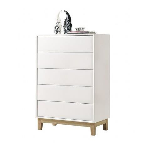 Commode design blanche laquee 5 tiroirs Venice - Achat / Vente ...