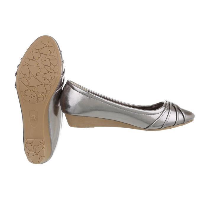 Femme Gris Ballerine Argent 41 Semelle rose Gris kaki Chaussures beige Compense Escarpin dSXqd4w
