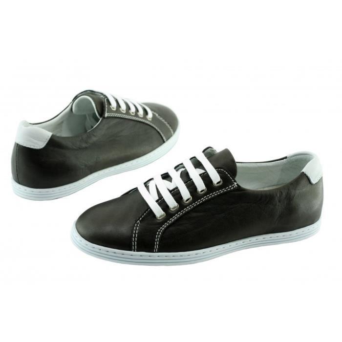 Rey - Chaussures Homme Tennis Baskets en cuir souple & confortable semelle blanche pointure 39 46 fabriqué Portugal cuir marron vOPogHS