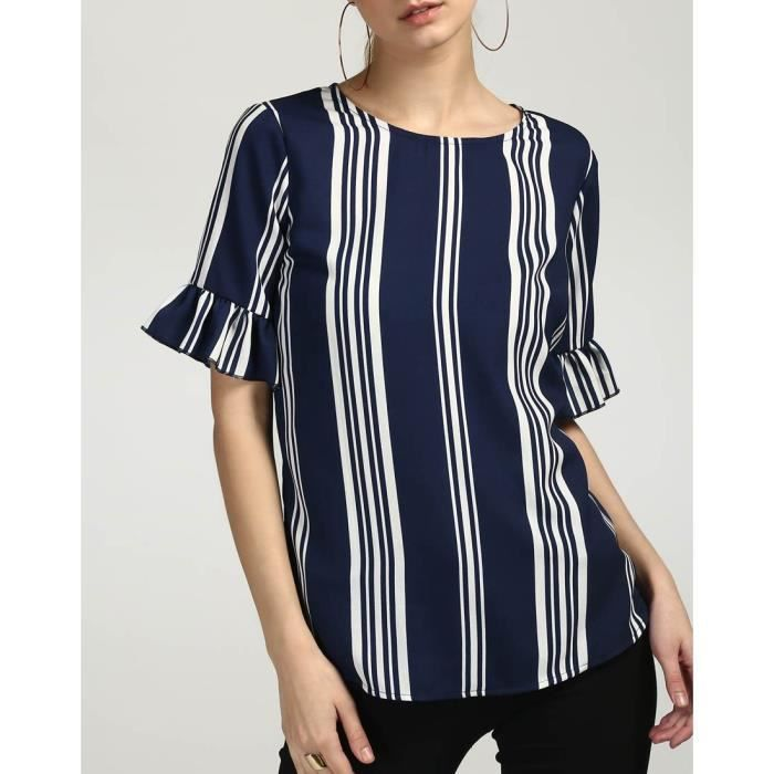 Trendtwo Berto Femmes rayé Top rayé Ruffle Georgette Casual Top ARC7X Taille-36