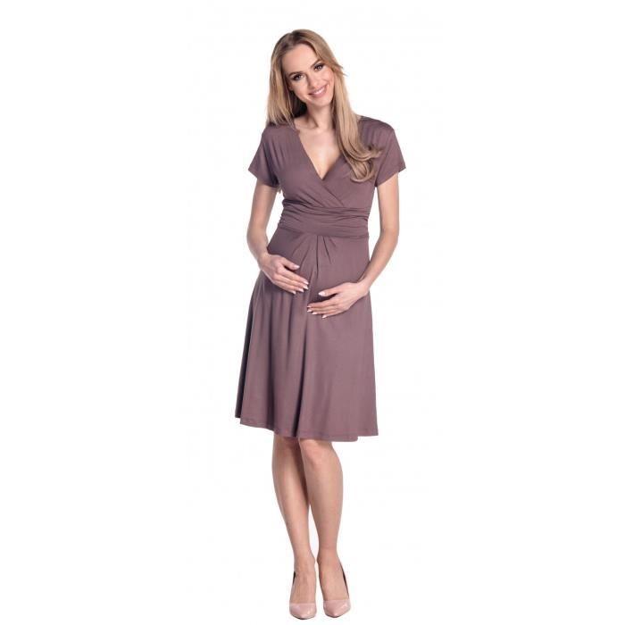 Happy Mama Femme. Robe de maternité drapée. Robe de cocktail de grossesse. 108p
