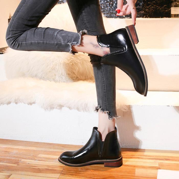 Toe Martin Amyamyi Color Wong1863 Chaussures femmes Cuir Talon Pure Bottillons En Bottes Shoes Rondes Carré xRAwRC