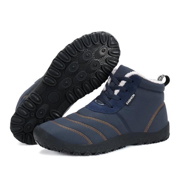 Bottes de neige « hommes d'hiver de fourrure chaud Doublé imperméable Antiderapant Chaussures en plein air A7SA3 Taille-40 1-2
