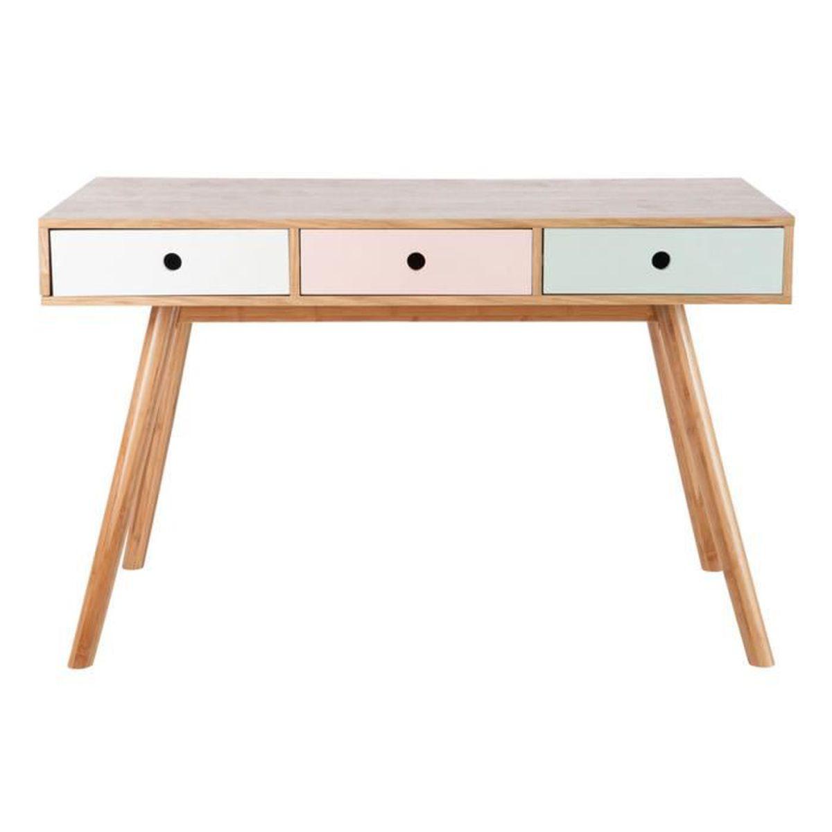 bureau 3 tiroirs vintage bois pastel rose vert bois blanc achat vente bureau bureau 3. Black Bedroom Furniture Sets. Home Design Ideas