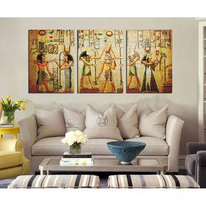 TABLEAU - TOILE 3 panneaux imprimés peinture de toile antique Egyp