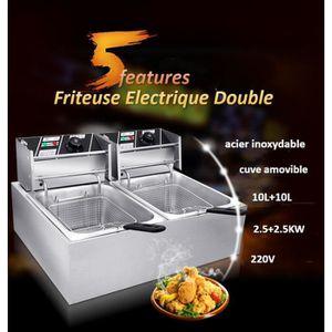 FRITEUSE ELECTRIQUE Double Friteuse Électrique Cuve Amovible 2x10L en