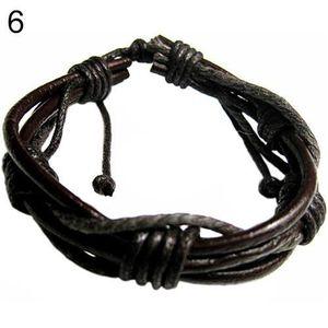 BRACELET - GOURMETTE Bracelet multicouche tressé en jersey de cuir pour