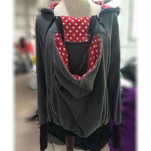 Porte bébé gris et rouge Trois-en-un mère multifonctions Kangourou Zipper  Sweat à capuche Taille  S, Poitrine  85-88cm, 65-67cm, 470f01d5076