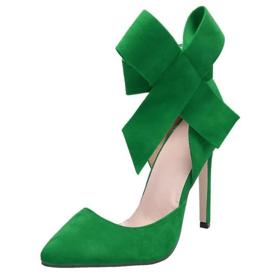 Sexy haut a talon femmes cheville Bowknot a haut souligné Toe pompe chaussures taille 37-40 Vert Vert - Achat / Vente escarpin 3ae498
