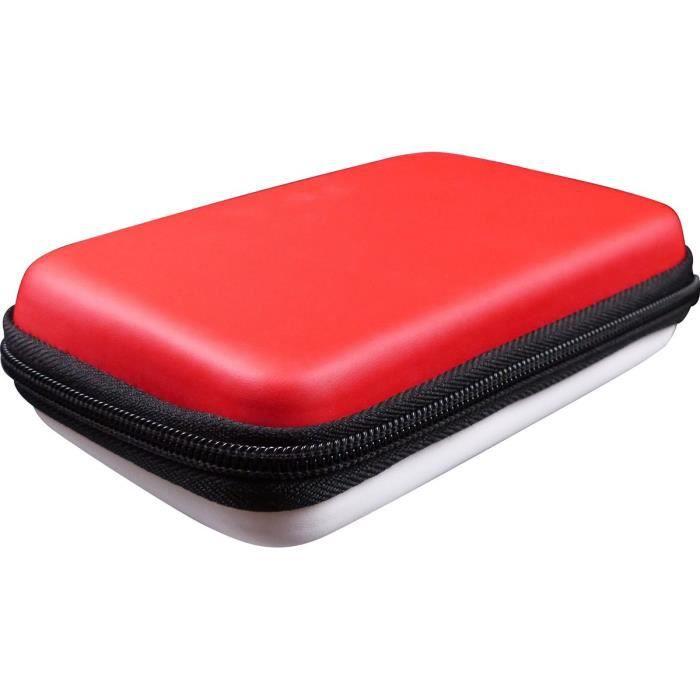 Subsonic etui housse rigide pour console et accessoires nintendo new 3ds xl et new 2ds xl sacoche rouge et blanche