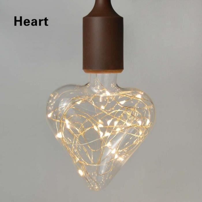 Deak Cuivre Fil V Lumière 220 E27 Effet Filament Ampoule Heart Edison Version Rétro Chaîne 110 Led Vintage Artifice 3d Feux Table ptwPfnU