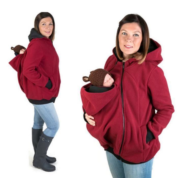 M Rouge Femme Portebébé Kangourou Maman Pull Veste Avec Capuche - Porte bébé kangourou