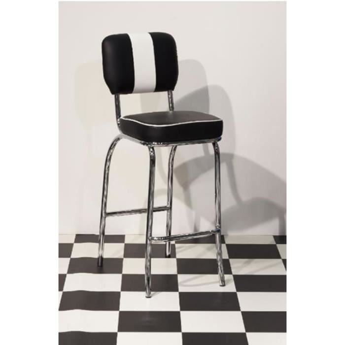 Style de cuisine Retro Tabouret de Carsony 50 Grand Chaise de siège  rembourré noir et blanc