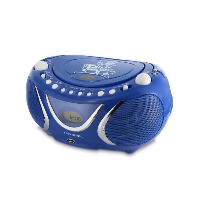 Metronic 477132 Radio - Lecteur Cd Mp3 Portable Square Avec Port Usb Bleu Foncé
