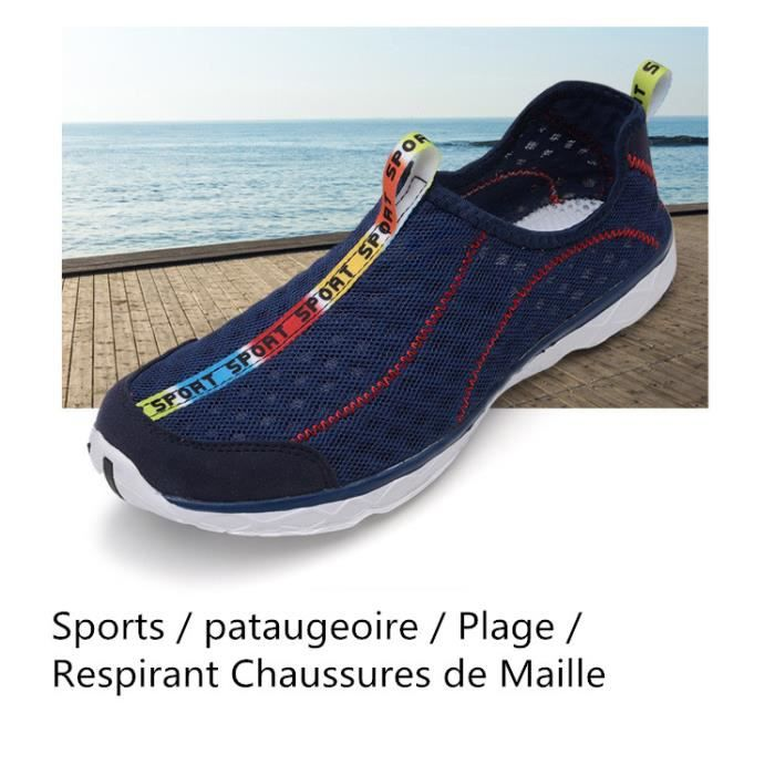 Bleu O Mailles Plage Mode Respirant Chaussures Marine Sport wxp4Yp