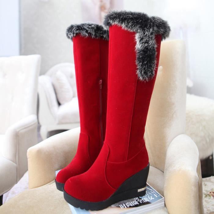 martin boots-Femmes de pures Bottes talon Couleur Wedge Avec Zippers