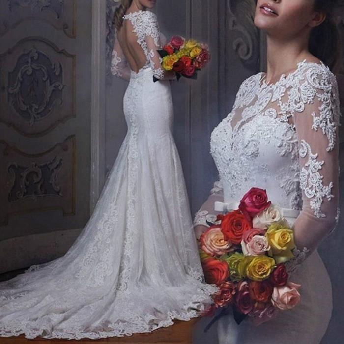 Robe De Mariée Mariage Longue Traîne Manches Longue Dentelle Col Bateau Dos Nu Sirène Avec Ceinture Haute Couture Blanche Perle N