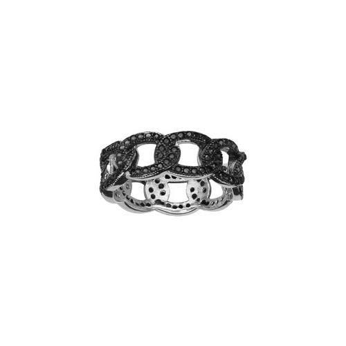 Bague argent rhodié anneau style maille entrelacée