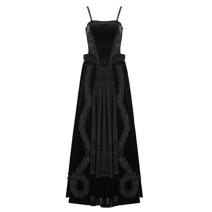 Robe longue noire en velours broderie et laçage dans le dos, gothic romantic punk rave