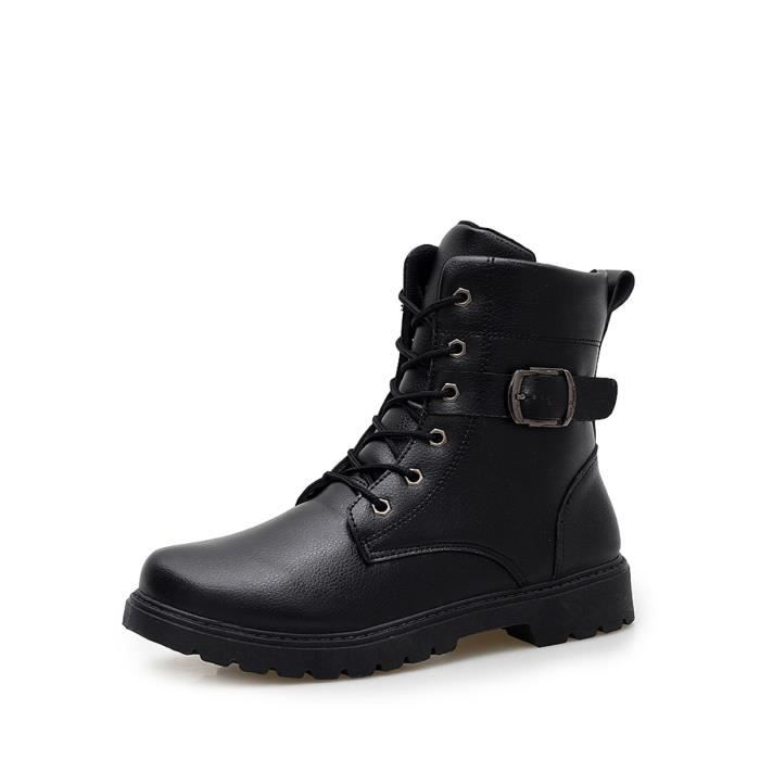 Bottes d'homme couleur unie lacent PU Chaussures de mode 6910708 df1aNGpH8