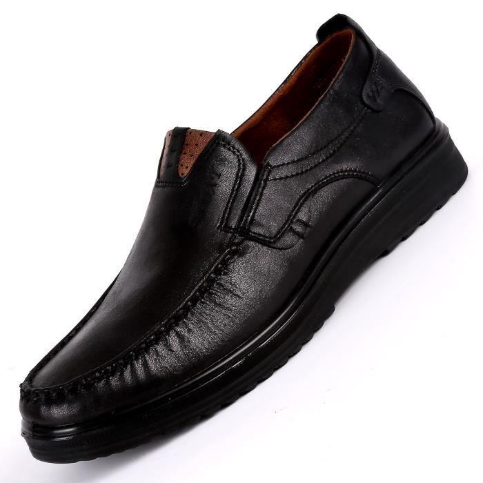 9b9dd17e6aeaf2 JOZSI Chaussures Hommes Cuir Confortable mode Homme chaussure de ville  SHT-XZ197Noir38