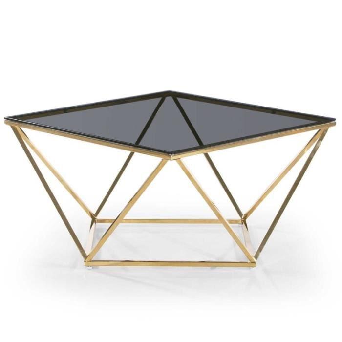 Table Basse Design En Verre.Paris Prix Table Basse Design En Verre Lina 80cm Noir Or