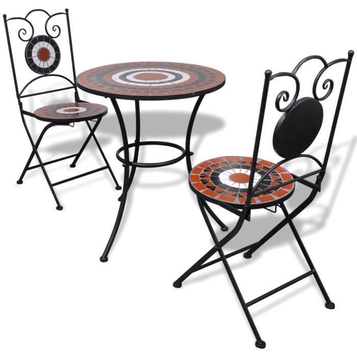Set Table Cuisine Avec 2 Chaise Bistrot Mosaique Terre Cuite Blanc