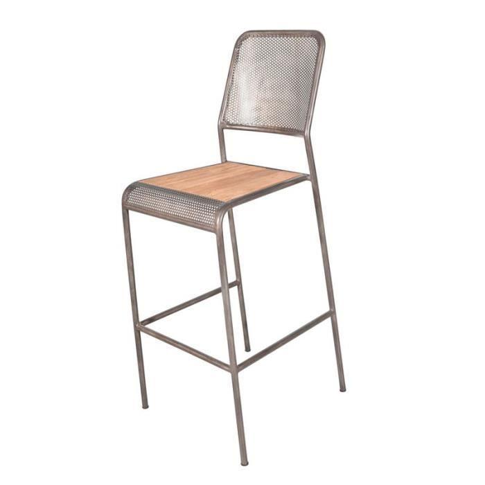 Chaise de bar métal perforé - INDUSTRY - L 46 x l 49 x H 112 cm ... 57283b5fada0