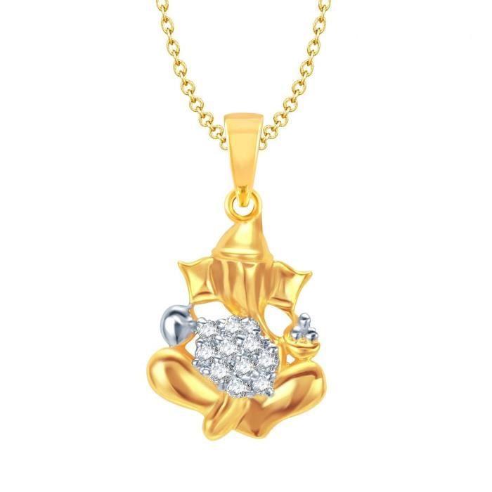 Femmes Ganesha Ganpati Dieu Pendentif avec Pour, plaqué or en Amérique diamant Cz Gp Bijoux S4M8Z